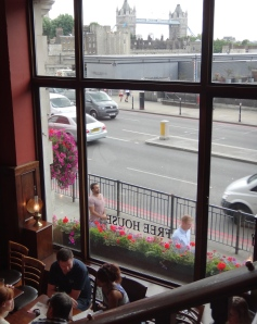 View of the Tower Bridge from a pub