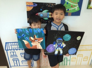 heart studio, children's art, canvas