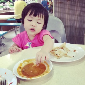 Her first time having curry... Although she did not try it again after that!
