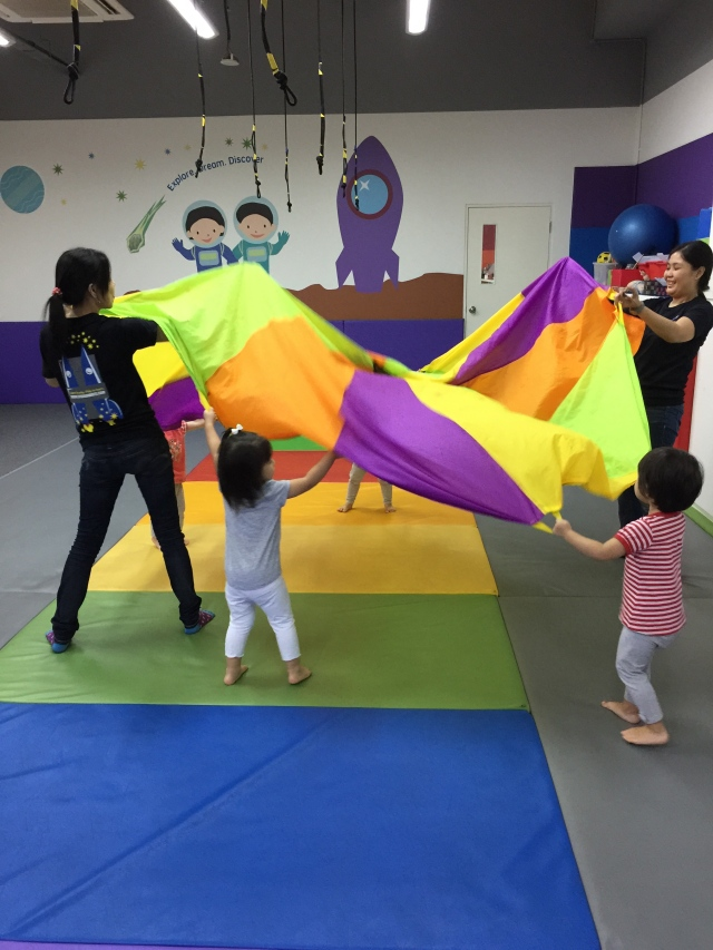 Before story time is parachute time.