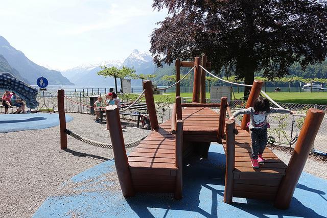 Brunnen lake switzerland swiss playground