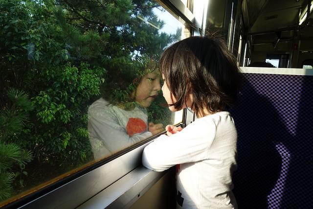 On a train to Uminonakamichi, Fukuoka.